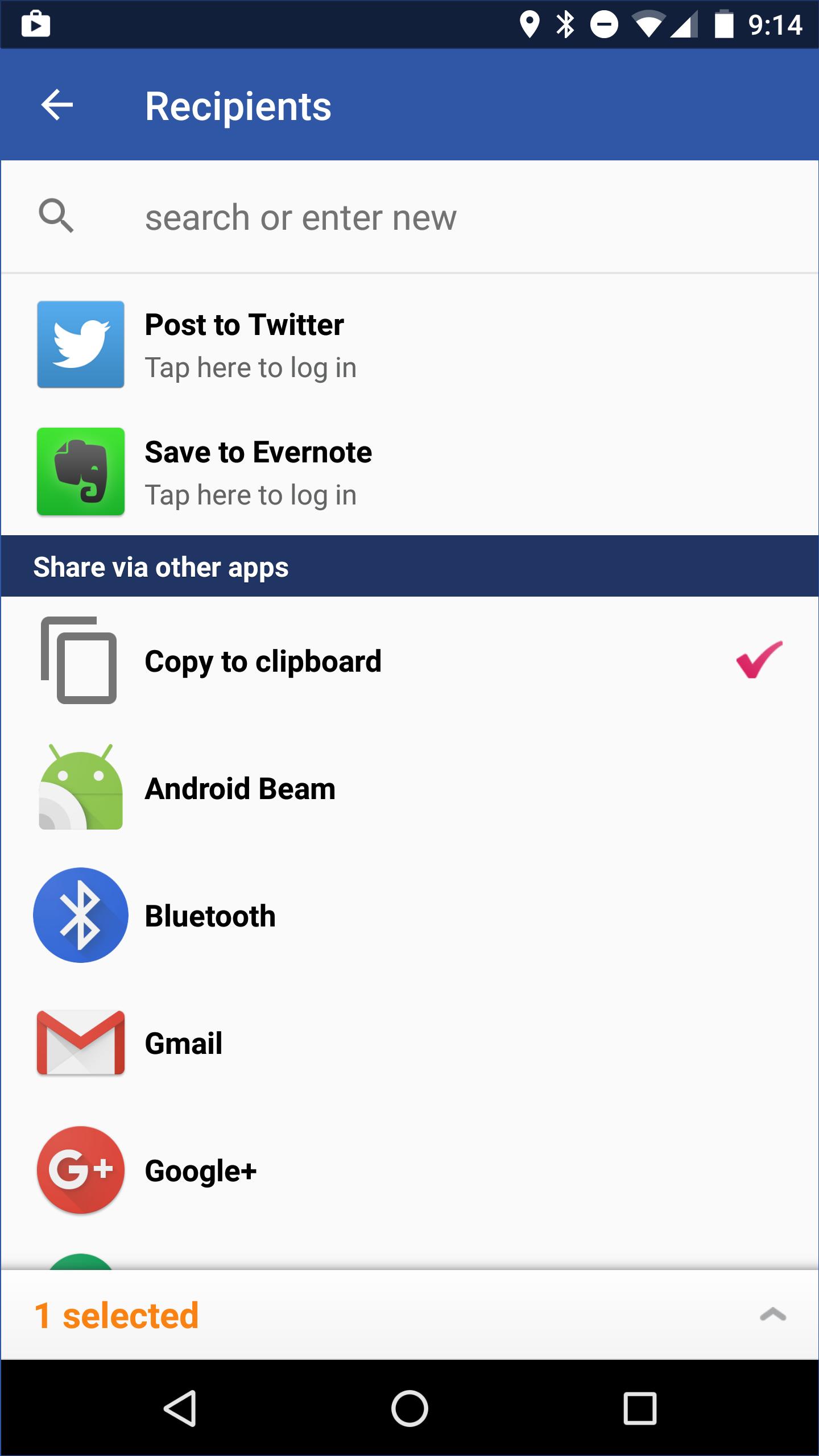 Sending a Glympse using a third party app (e g  WhatsApp